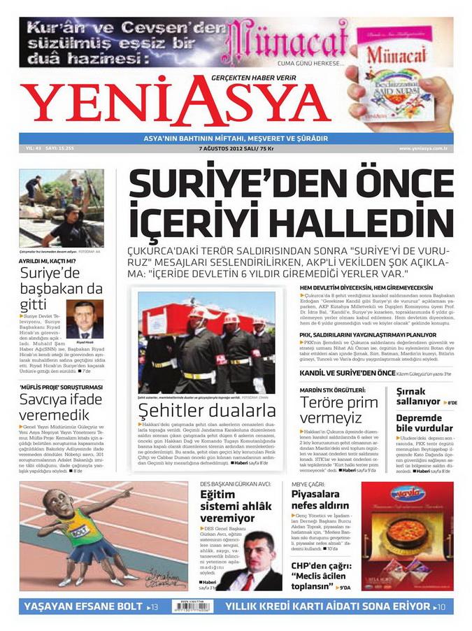 Gazete Manşetleri - 7 Ağustos 2012 Salı 22