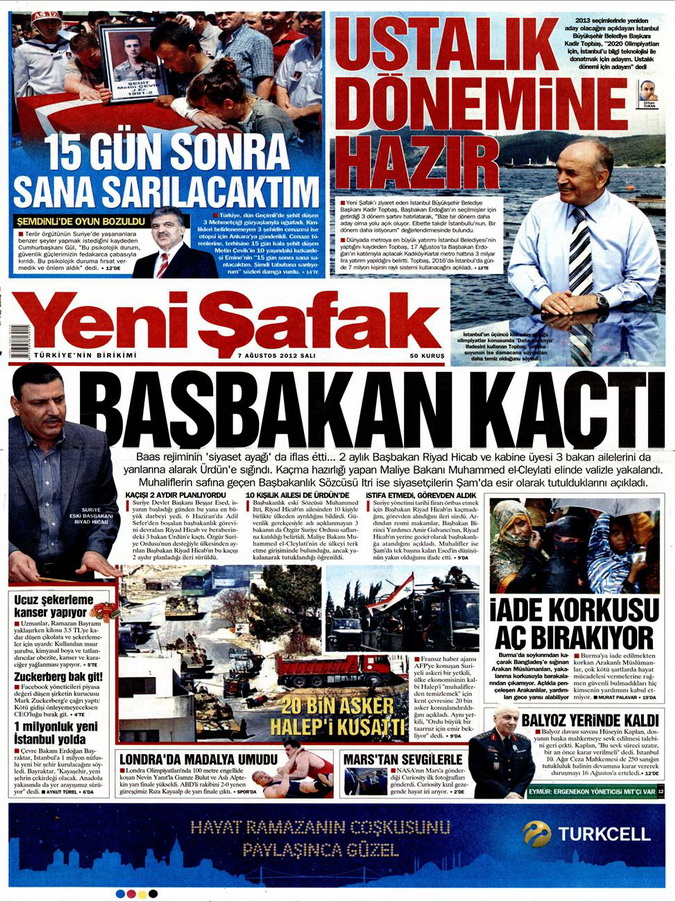 Gazete Manşetleri - 7 Ağustos 2012 Salı 23