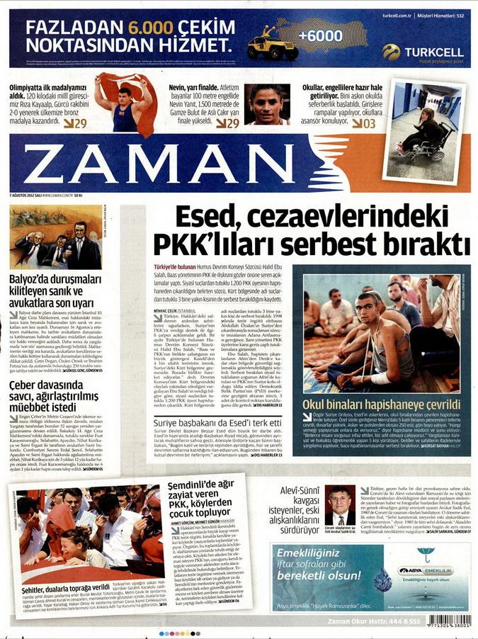 Gazete Manşetleri - 7 Ağustos 2012 Salı 24