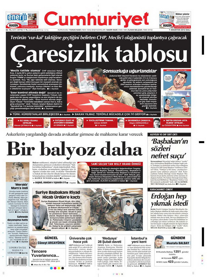 Gazete Manşetleri - 7 Ağustos 2012 Salı 4