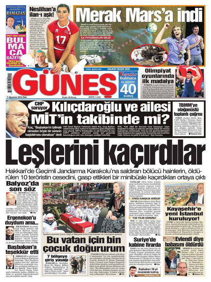 Gazete Manşetleri - 7 Ağustos 2012 Salı 5