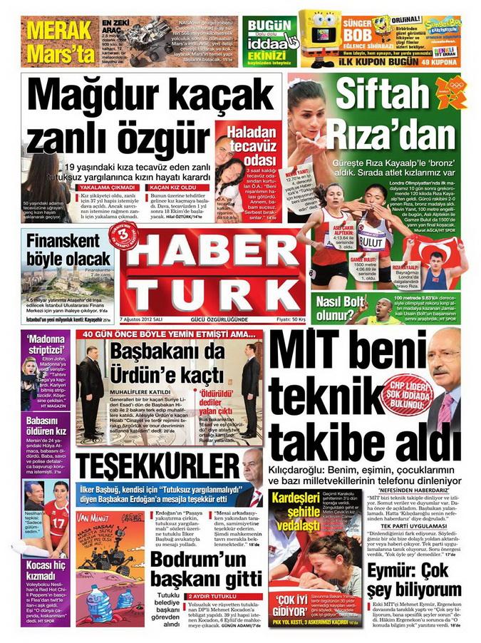 Gazete Manşetleri - 7 Ağustos 2012 Salı 6