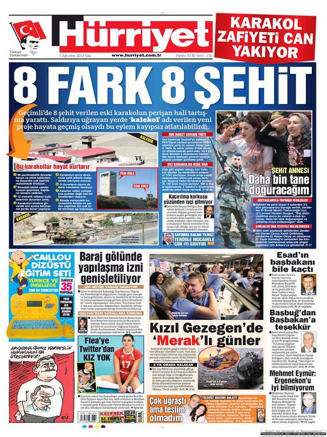 Gazete Manşetleri - 7 Ağustos 2012 Salı 7