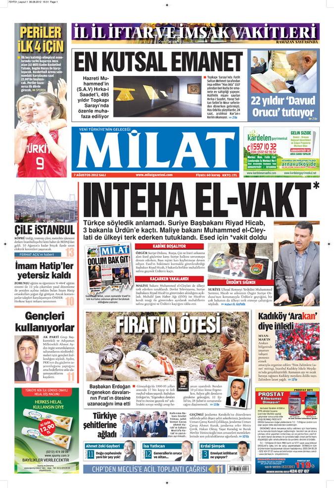 Gazete Manşetleri - 7 Ağustos 2012 Salı 8