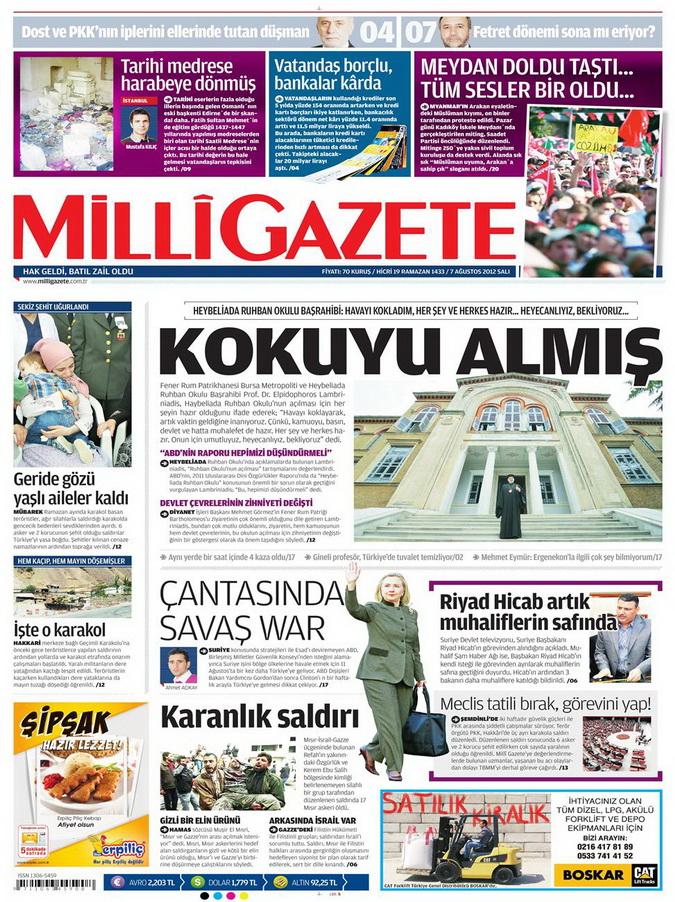Gazete Manşetleri - 7 Ağustos 2012 Salı 9