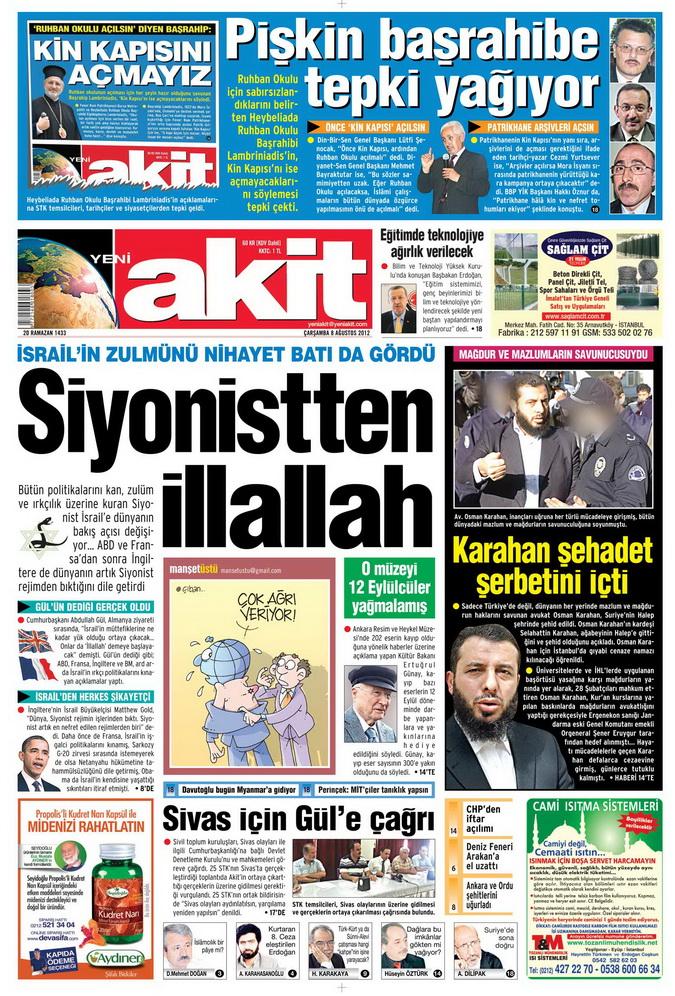 Gazete Manşetleri - 8 Ağustos 2012 Çarşamba galerisi resim 1