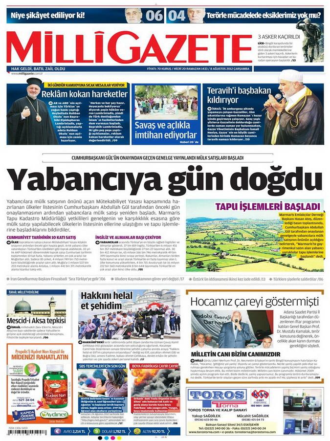 Gazete Manşetleri - 8 Ağustos 2012 Çarşamba 10
