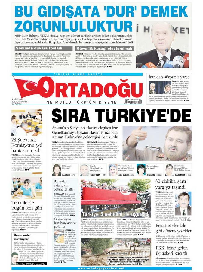 Gazete Manşetleri - 8 Ağustos 2012 Çarşamba 12