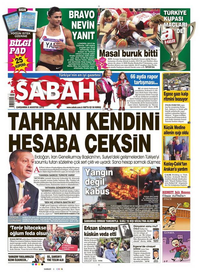 Gazete Manşetleri - 8 Ağustos 2012 Çarşamba 15