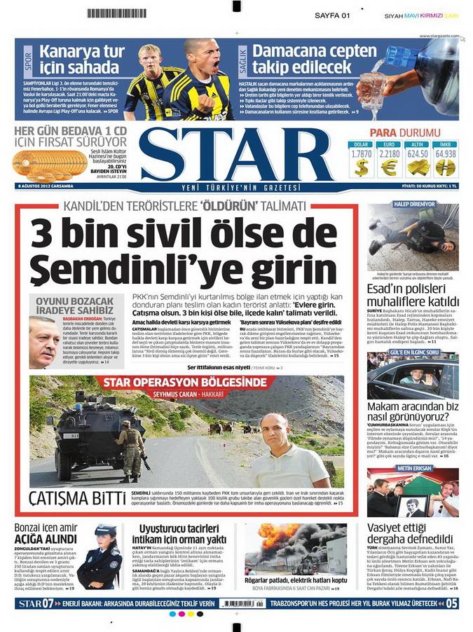 Gazete Manşetleri - 8 Ağustos 2012 Çarşamba 17