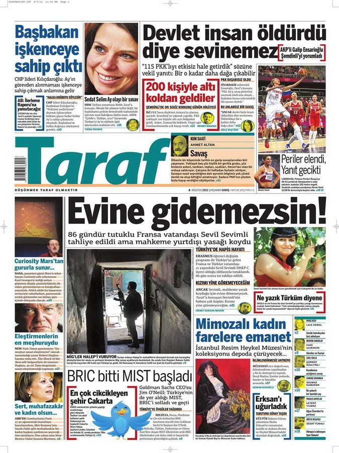 Gazete Manşetleri - 8 Ağustos 2012 Çarşamba 18
