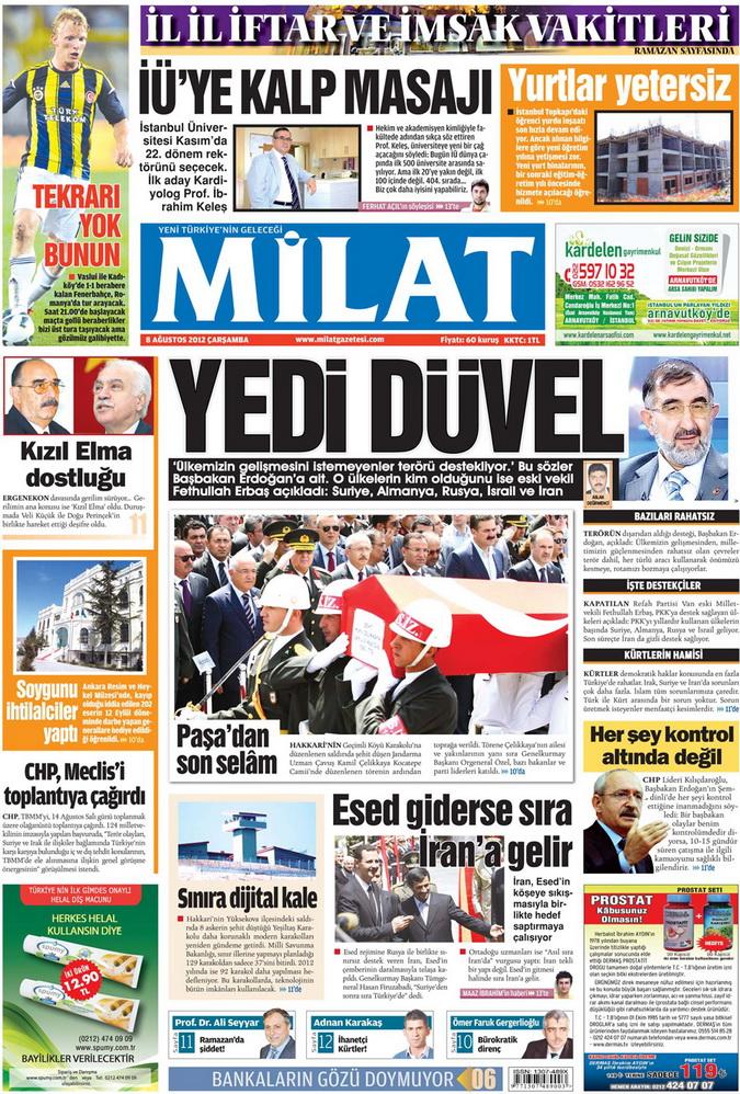 Gazete Manşetleri - 8 Ağustos 2012 Çarşamba 2