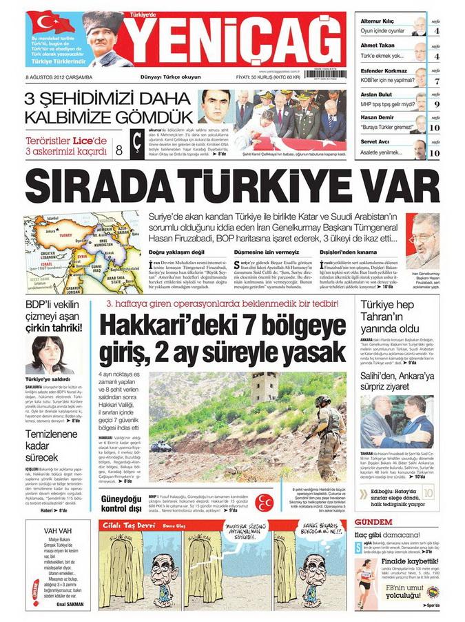 Gazete Manşetleri - 8 Ağustos 2012 Çarşamba 20