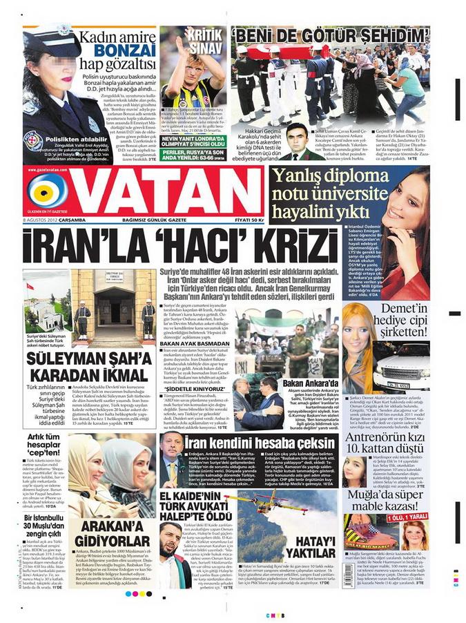 Gazete Manşetleri - 8 Ağustos 2012 Çarşamba 21