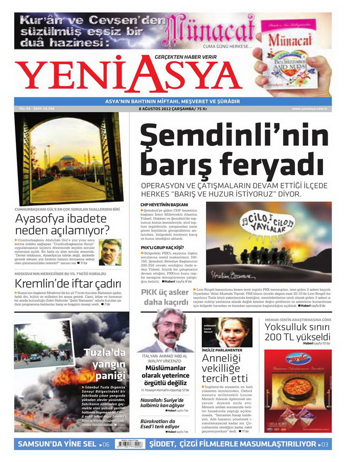 Gazete Manşetleri - 8 Ağustos 2012 Çarşamba 22