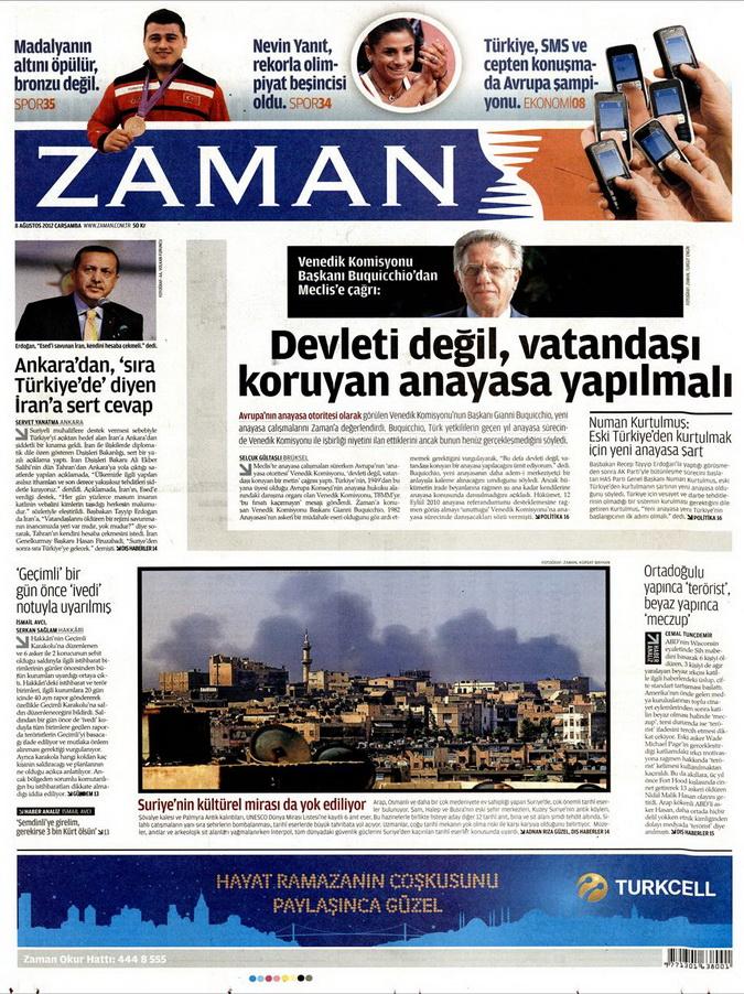 Gazete Manşetleri - 8 Ağustos 2012 Çarşamba 24