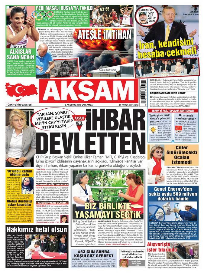 Gazete Manşetleri - 8 Ağustos 2012 Çarşamba 3