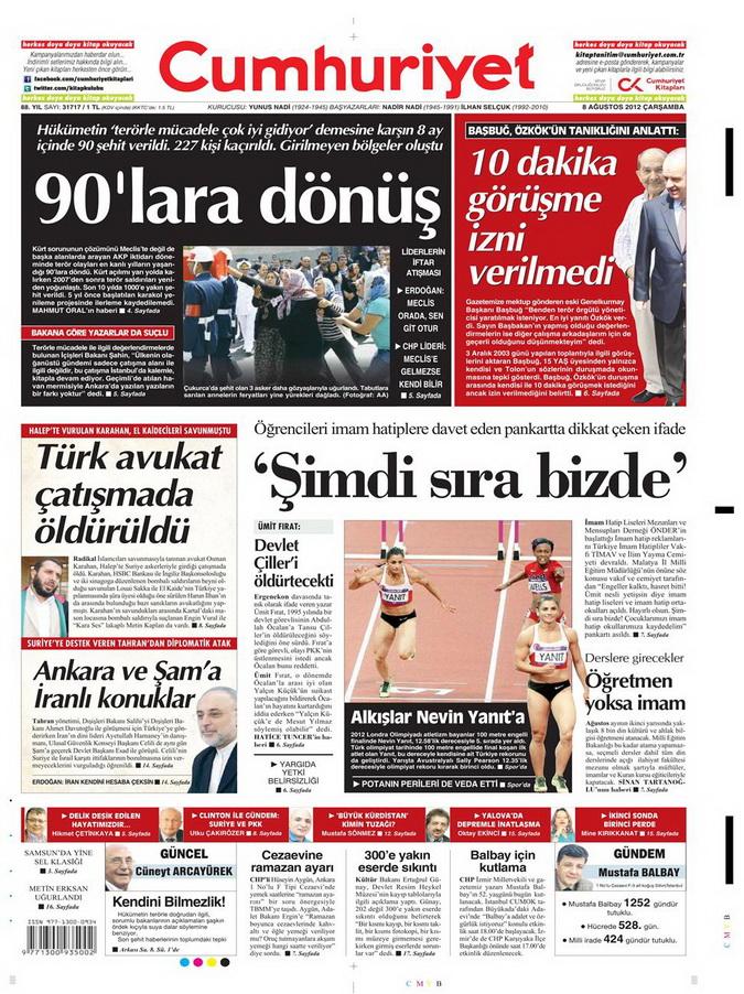 Gazete Manşetleri - 8 Ağustos 2012 Çarşamba 6