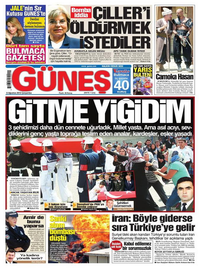 Gazete Manşetleri - 8 Ağustos 2012 Çarşamba 7