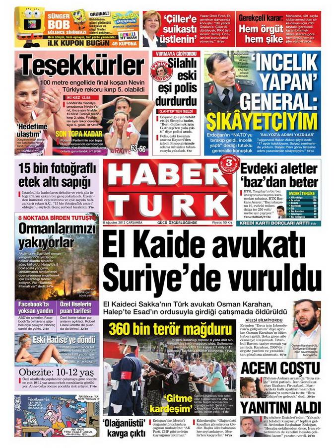 Gazete Manşetleri - 8 Ağustos 2012 Çarşamba 8