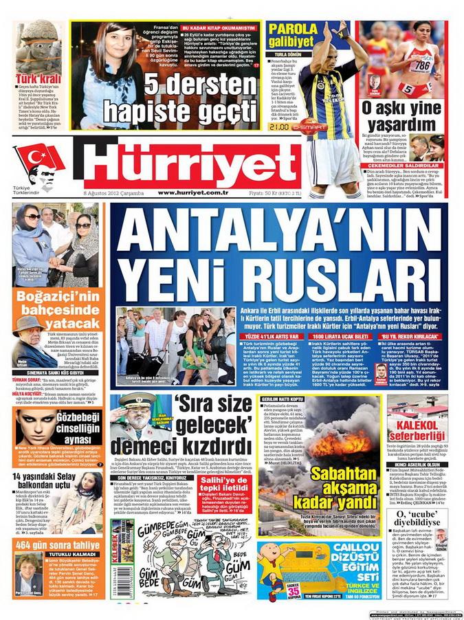 Gazete Manşetleri - 8 Ağustos 2012 Çarşamba 9