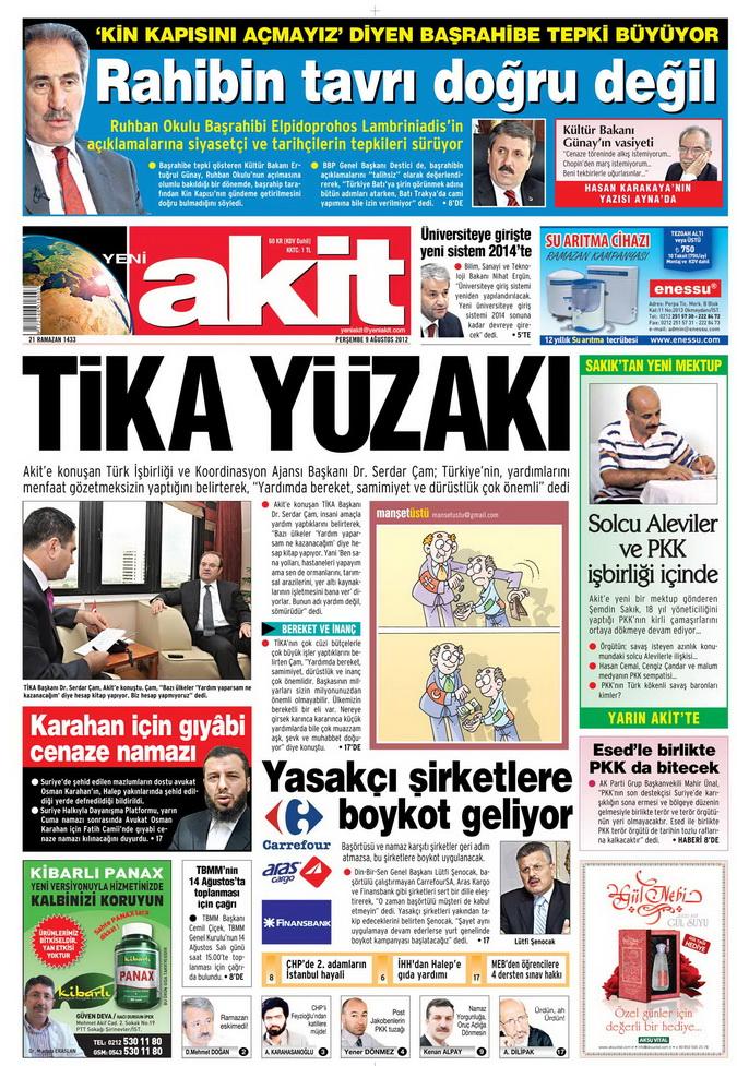 Gazete Manşetleri - 9 Ağustos 2012 Perşembe galerisi resim 1