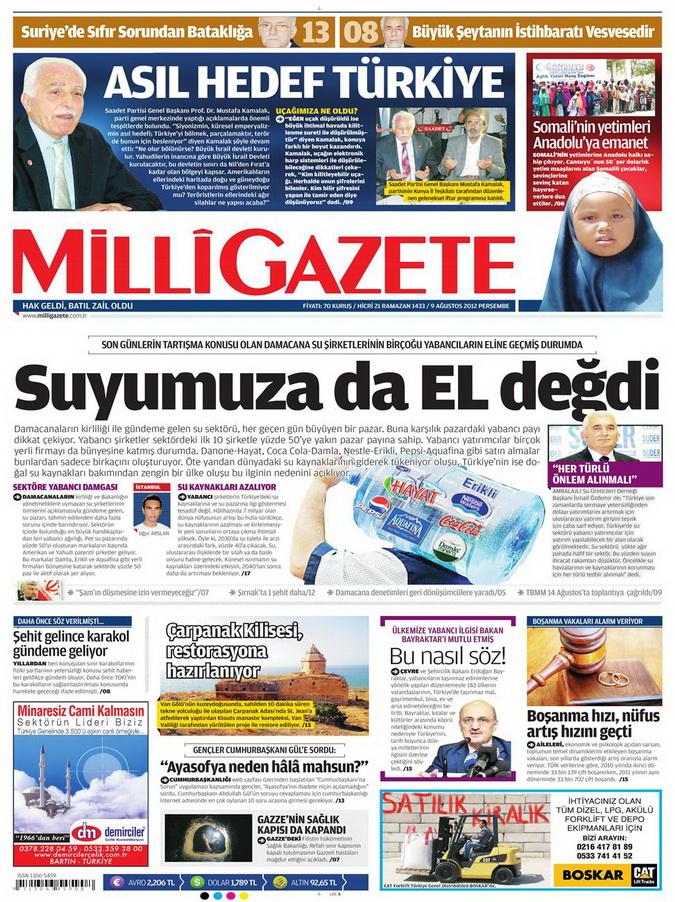 Gazete Manşetleri - 9 Ağustos 2012 Perşembe 10