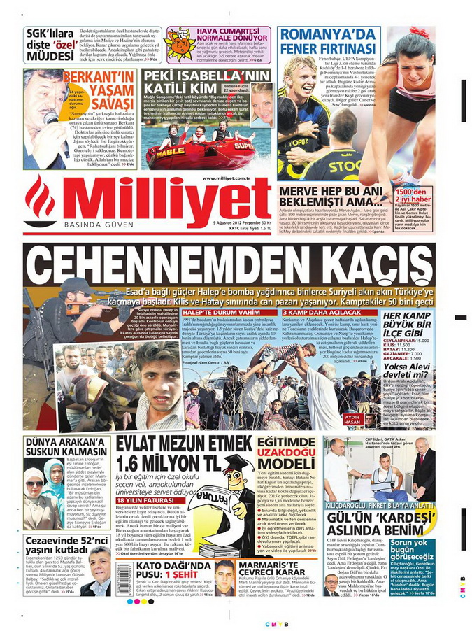 Gazete Manşetleri - 9 Ağustos 2012 Perşembe 11