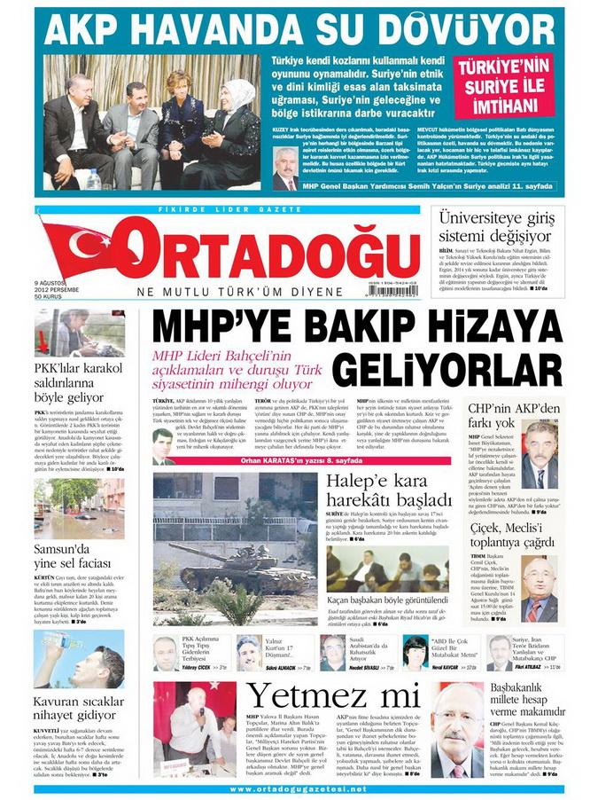Gazete Manşetleri - 9 Ağustos 2012 Perşembe 12