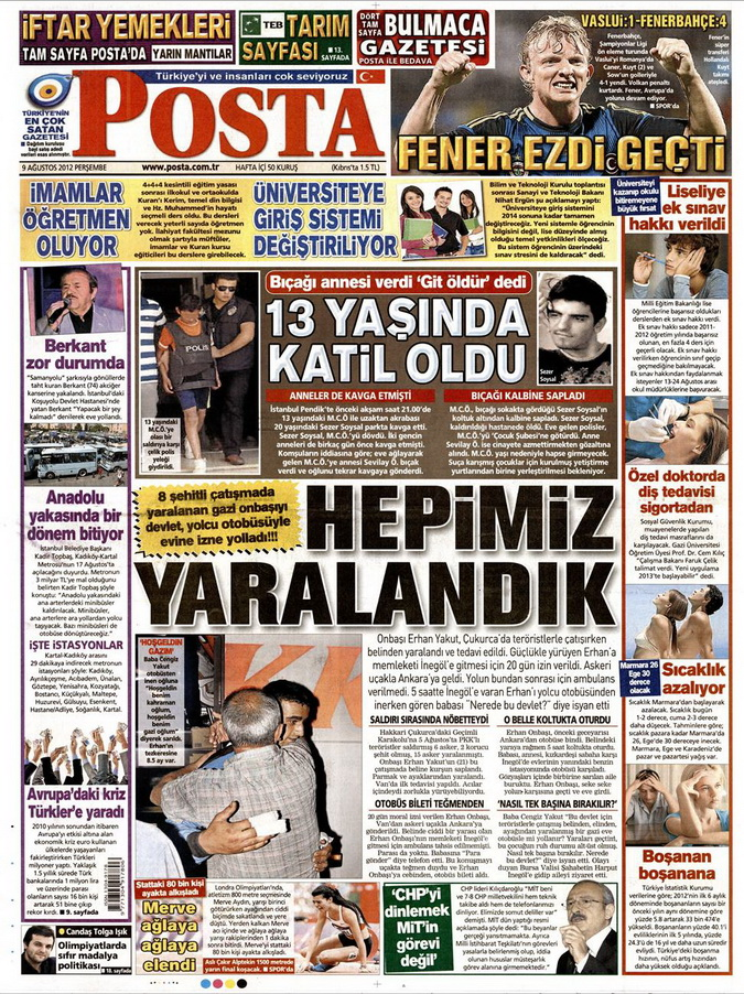 Gazete Manşetleri - 9 Ağustos 2012 Perşembe 13