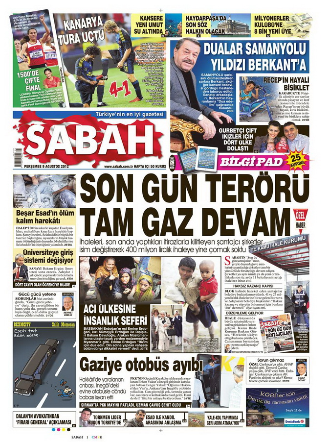 Gazete Manşetleri - 9 Ağustos 2012 Perşembe 14