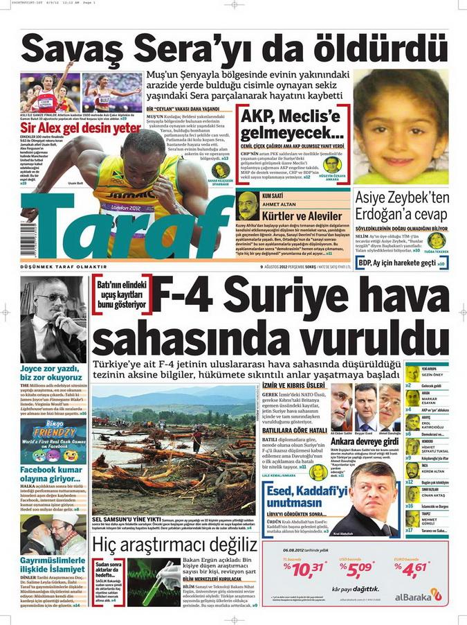 Gazete Manşetleri - 9 Ağustos 2012 Perşembe 17