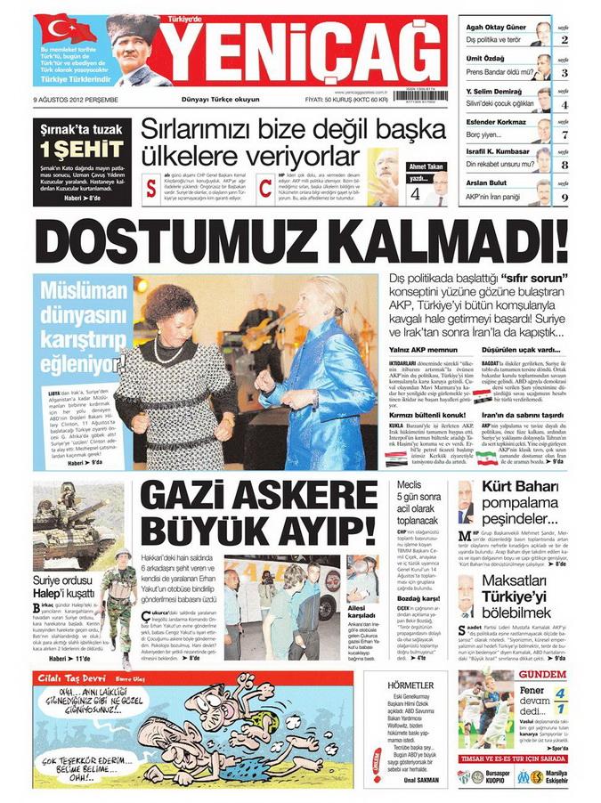 Gazete Manşetleri - 9 Ağustos 2012 Perşembe 18