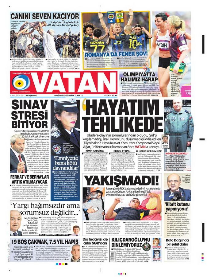 Gazete Manşetleri - 9 Ağustos 2012 Perşembe 19
