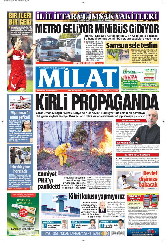 Gazete Manşetleri - 9 Ağustos 2012 Perşembe 2