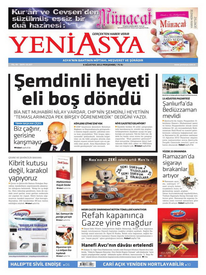 Gazete Manşetleri - 9 Ağustos 2012 Perşembe 20
