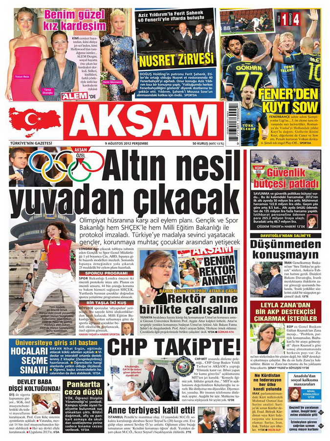 Gazete Manşetleri - 9 Ağustos 2012 Perşembe 3