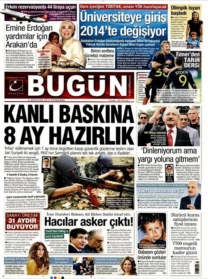 Gazete Manşetleri - 9 Ağustos 2012 Perşembe 5