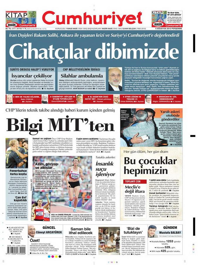Gazete Manşetleri - 9 Ağustos 2012 Perşembe 6