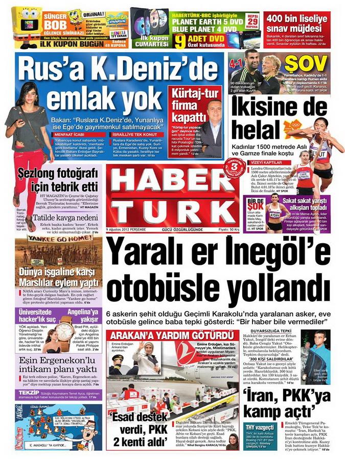 Gazete Manşetleri - 9 Ağustos 2012 Perşembe 8
