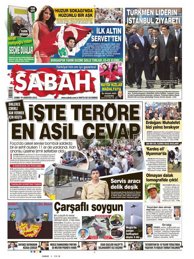Gazete Manşetleri - 10 Ağustos 2012 Cuma 11