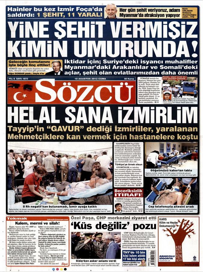 Gazete Manşetleri - 10 Ağustos 2012 Cuma 12