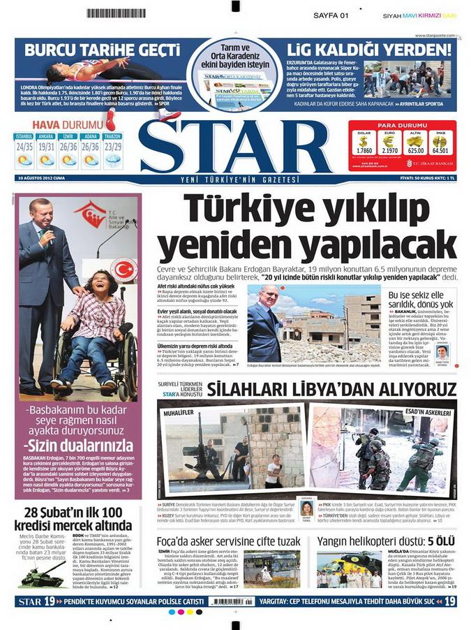Gazete Manşetleri - 10 Ağustos 2012 Cuma 13