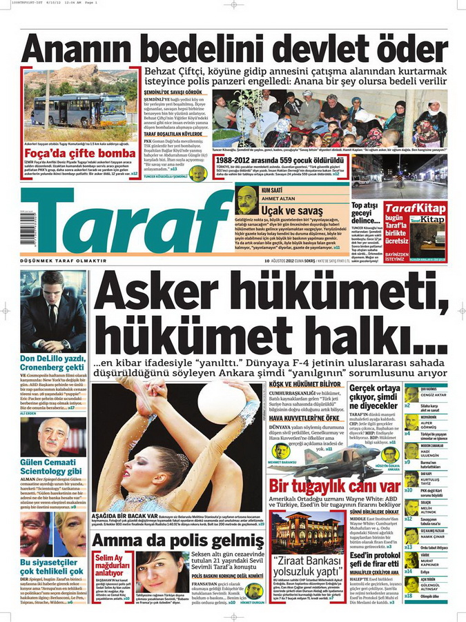 Gazete Manşetleri - 10 Ağustos 2012 Cuma 14