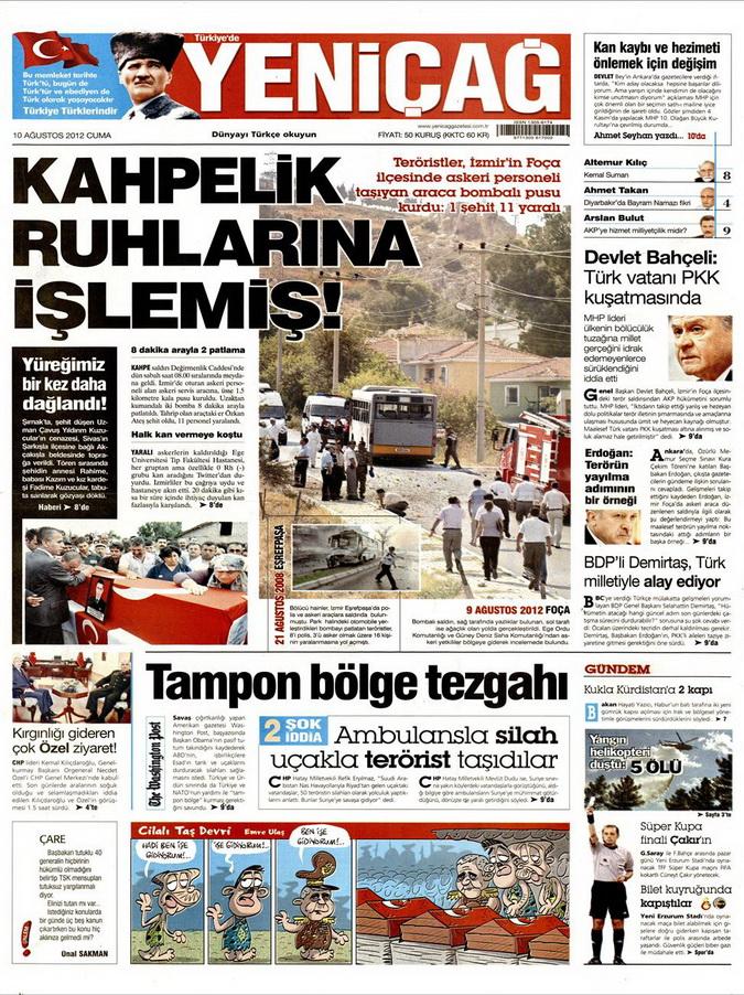 Gazete Manşetleri - 10 Ağustos 2012 Cuma 15