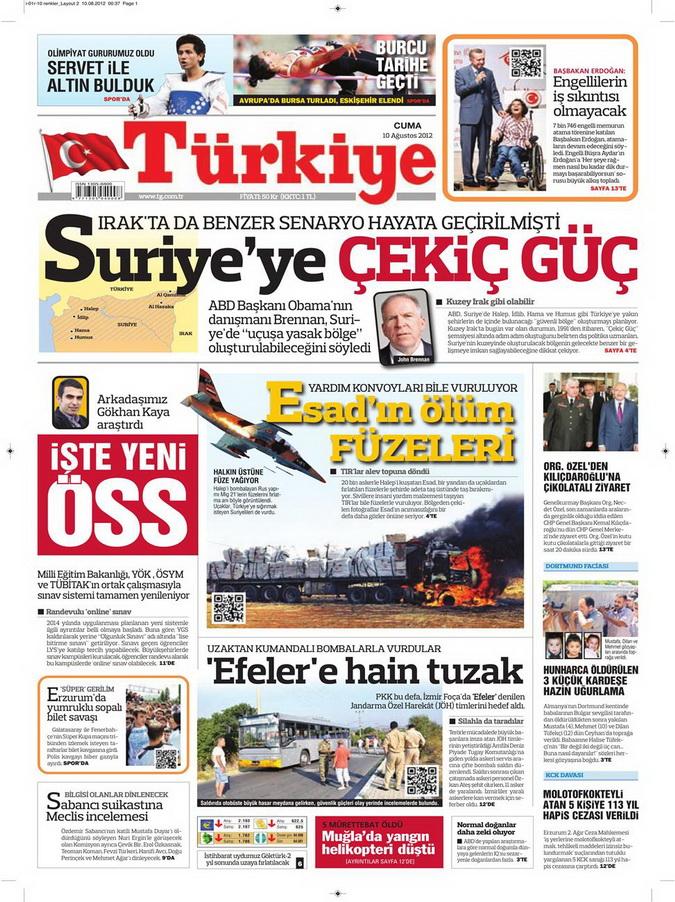 Gazete Manşetleri - 10 Ağustos 2012 Cuma 16