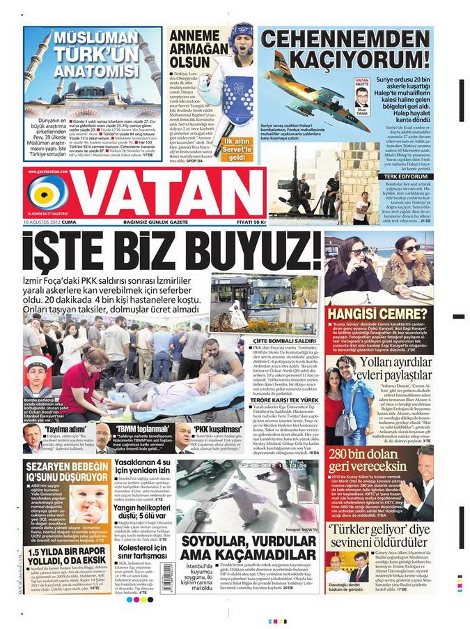 Gazete Manşetleri - 10 Ağustos 2012 Cuma 17