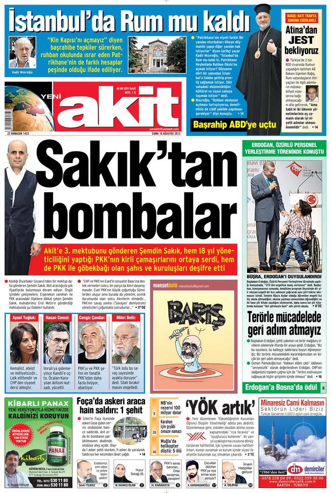 Gazete Manşetleri - 10 Ağustos 2012 Cuma 18