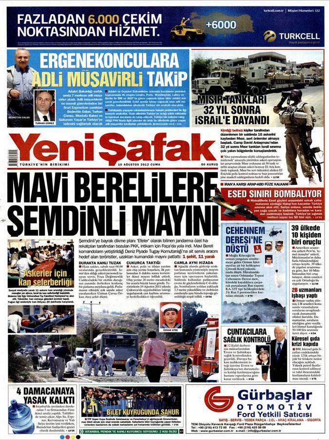 Gazete Manşetleri - 10 Ağustos 2012 Cuma 20