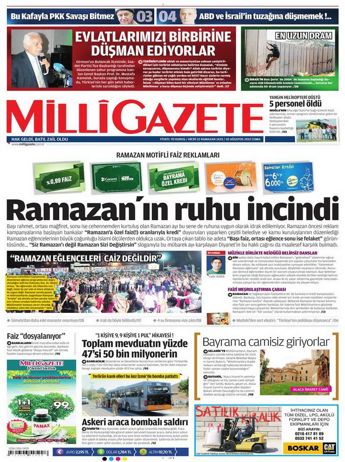 Gazete Manşetleri - 10 Ağustos 2012 Cuma 7